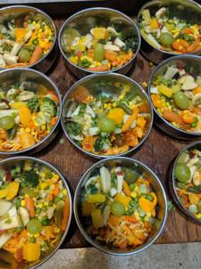 Pasta Goulash & Fruit Salad Dish